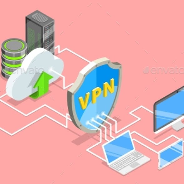 VPN Protection Isometric Flat Vector