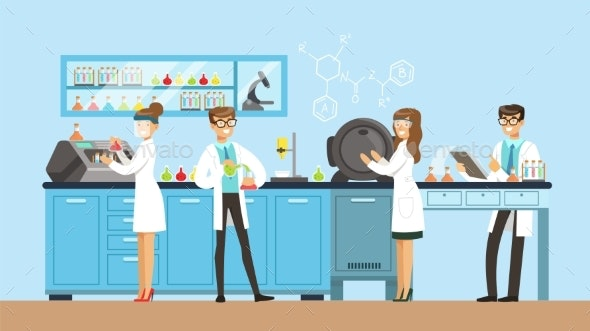 Scientists Man and Woman Working in a Lab - Technology Conceptual