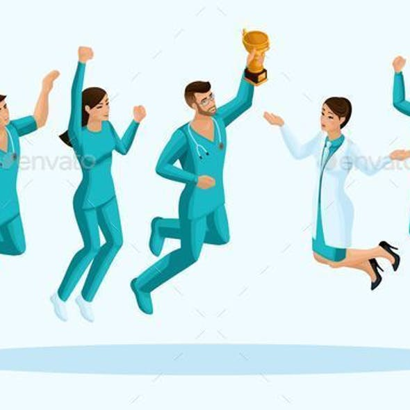 Isometrics Doctors Jump with Happiness
