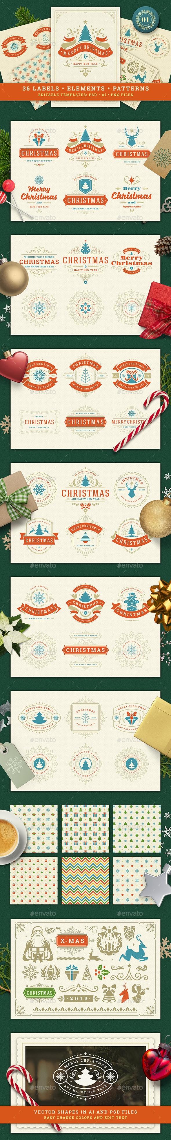 Christmas Retro Design Set - Badges & Stickers Web Elements