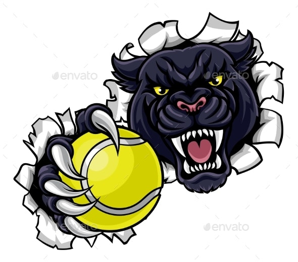 Black Panther Tennis Mascot Breaking Background - Sports/Activity Conceptual