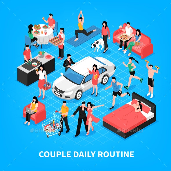 Daily Life Couple Isometric Illustration - People Characters