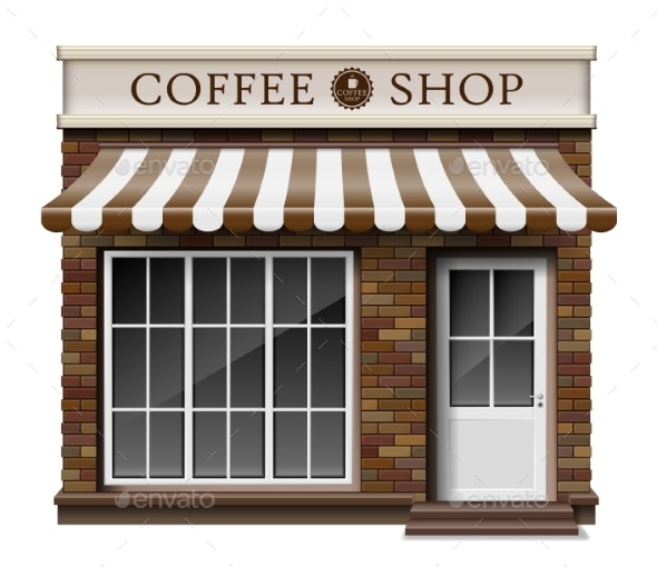Exterior Coffee Boutique Shop or Cafe Brick - Buildings Objects