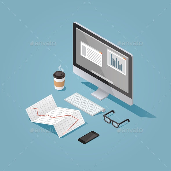 Isometric Work Place Illustration - Backgrounds Business