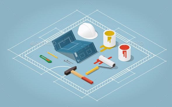 Isometric Room Refurbishment Illustration - Industries Business
