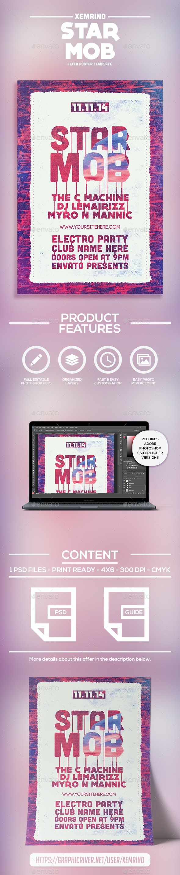 Star Mob Flyer Template - Clubs & Parties Events