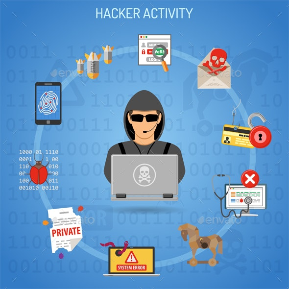 Hacker Activity Concept with Hacker - Web Technology