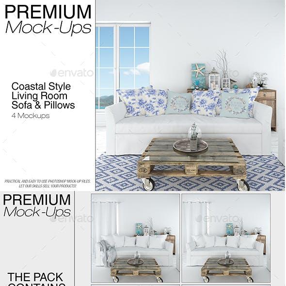 Sofa & Pillows Set - Coastal Style