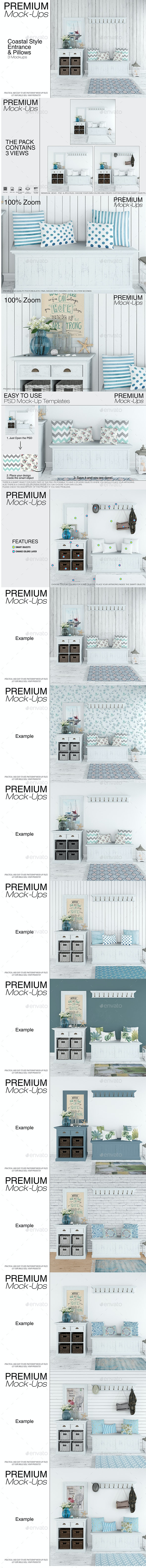 Coastal Style Entrance with Pillows - Print Product Mock-Ups