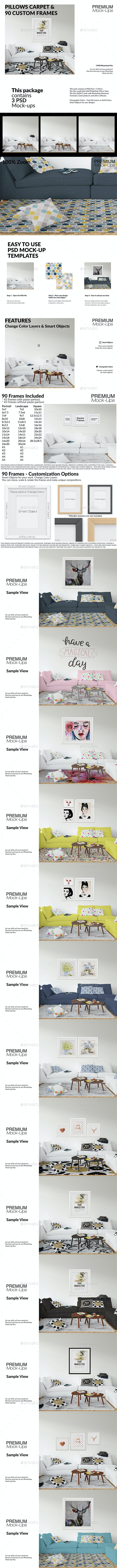 Throw Pillows Carpet & Frames Set - Print Product Mock-Ups