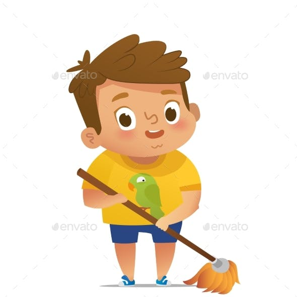 Child Doing Household Routines