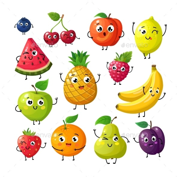 Cartoon Fruits - Food Objects