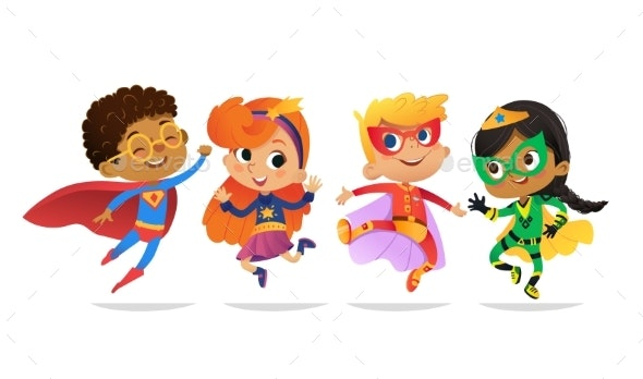Multiracial Boys and Girls Wearing Colorful Costumes - People Characters