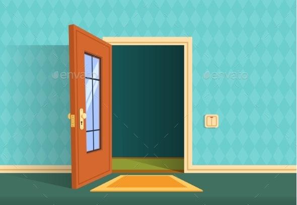Cartoon Open Door - Miscellaneous Vectors