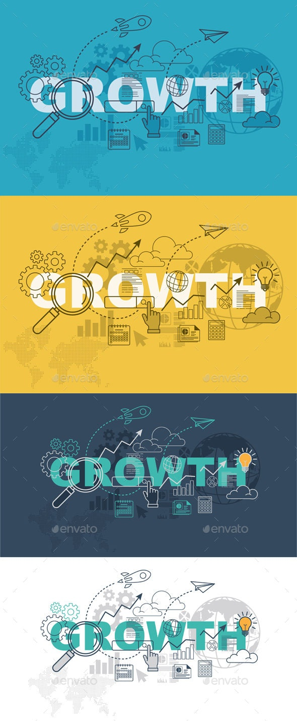 Growth Website Banner Design Concept - Backgrounds Business