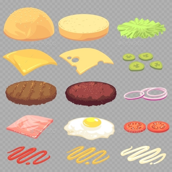 Cheeseburger Food Ingredients - Food Objects
