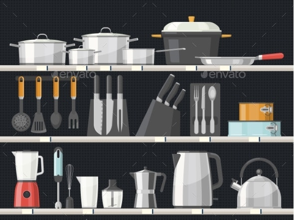 Kitchen Accessory or Kitchenware at Shelves - Man-made Objects Objects