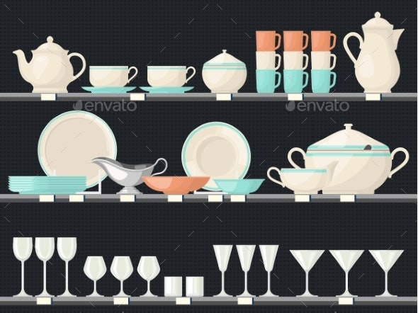 Shelves with Glassware Dish or Kitchen Utensil - Man-made Objects Objects