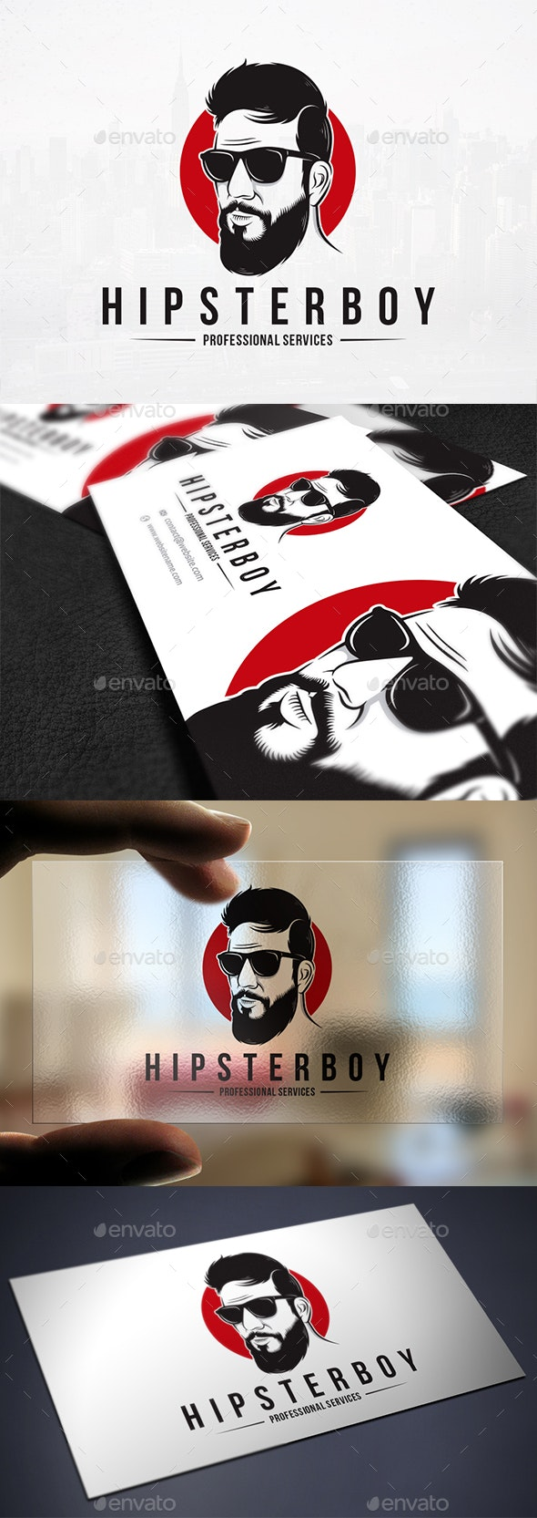 Bearded Hipster Logo Template - Humans Logo Templates