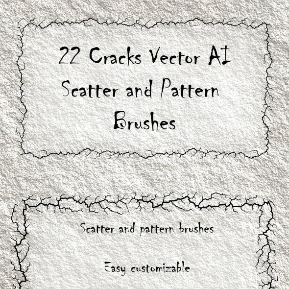 22 Crack Shabby Scatter and Pattern Brushes - Grunge Vector AI Tool