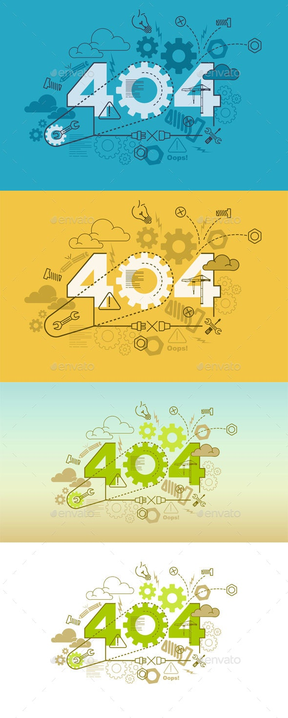 Error 404 Website Banner Design Concept - Web Elements Vectors