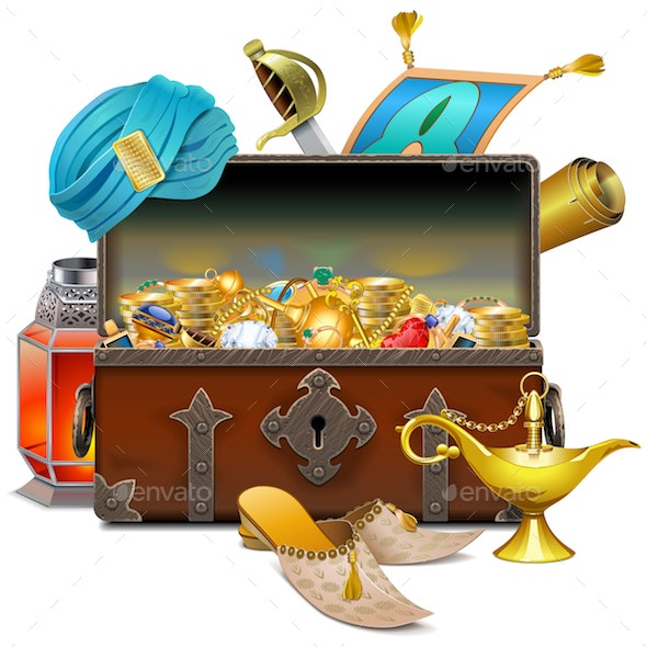 Vector Old Eastern Chest with Treasures - Travel Conceptual