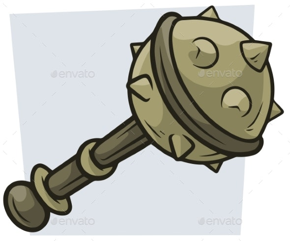 Cartoon Big Combat Mace Vector Icon - Man-made Objects Objects