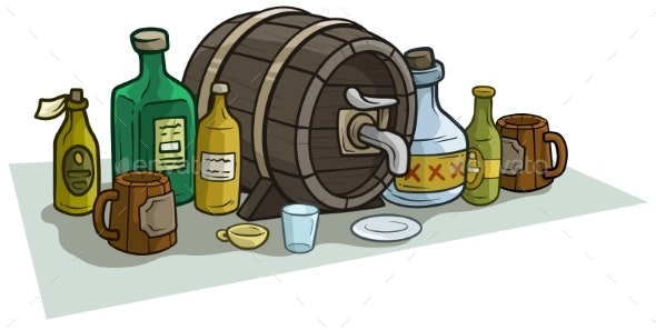 Cartoon Wooden Barrel Bottles and Mugs for Alcohol - Food Objects