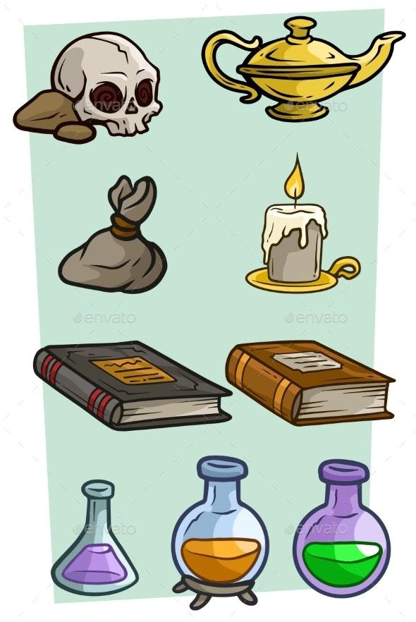 Cartoon Different Magic Stuff Vector Set - Man-made Objects Objects