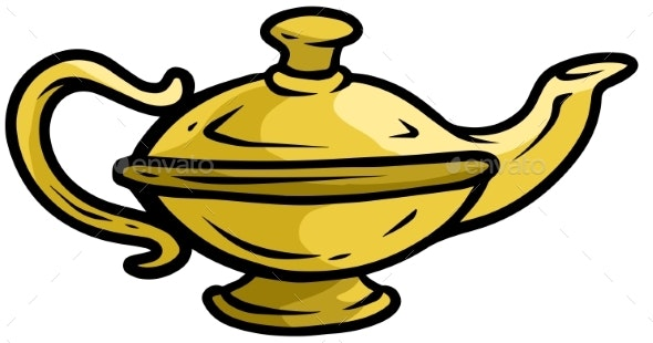 Cartoon Old Gold Genie Lamp Vector Icon - Man-made Objects Objects