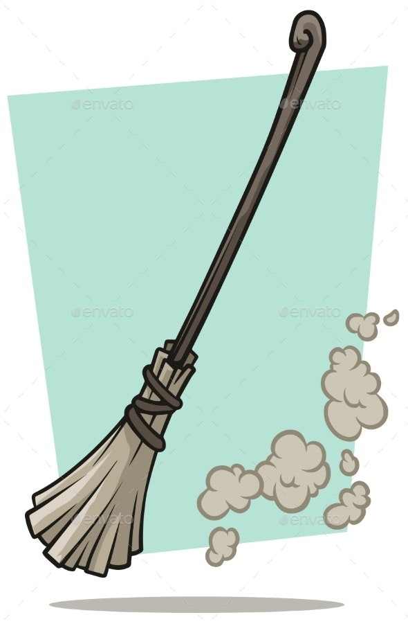 Cartoon Broom Cleaner and Dust Vector Icon - Man-made Objects Objects