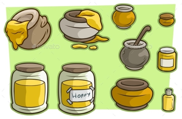 Cartoon Jar Cup with Honey Vector Icon Set - Food Objects