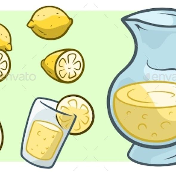 Cartoon Jug with Fresh Lemonade and Lemons