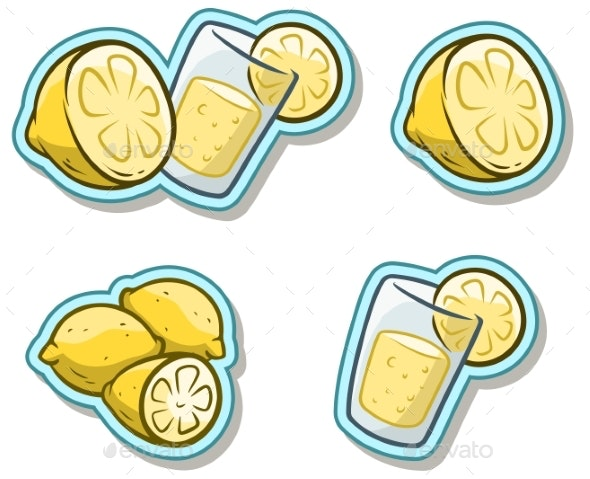 Cartoon Glass with Lemonade and Lemon Sticker Icon - Food Objects