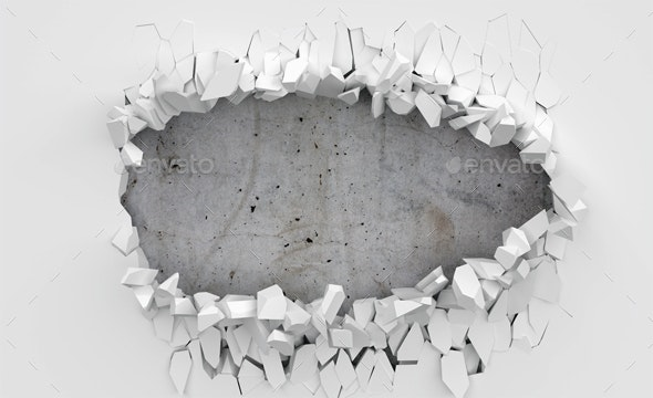 Wall Crack with Concrete Background - 3D Backgrounds