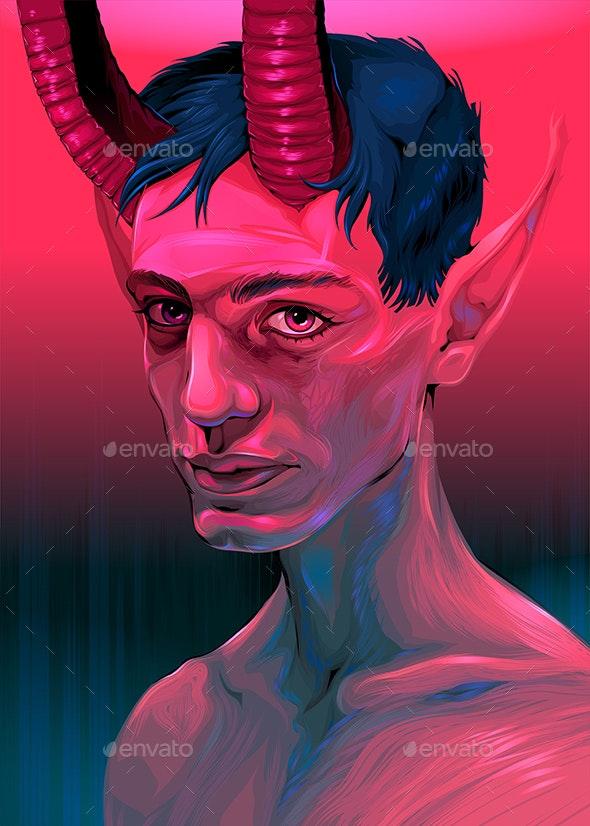 Portrait of a Devil Boy - Halloween Seasons/Holidays