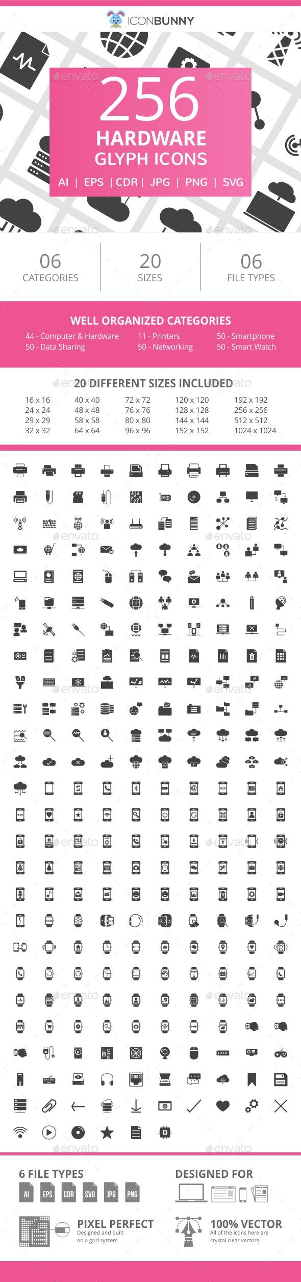 256 Hardware Glyph Icons - Icons