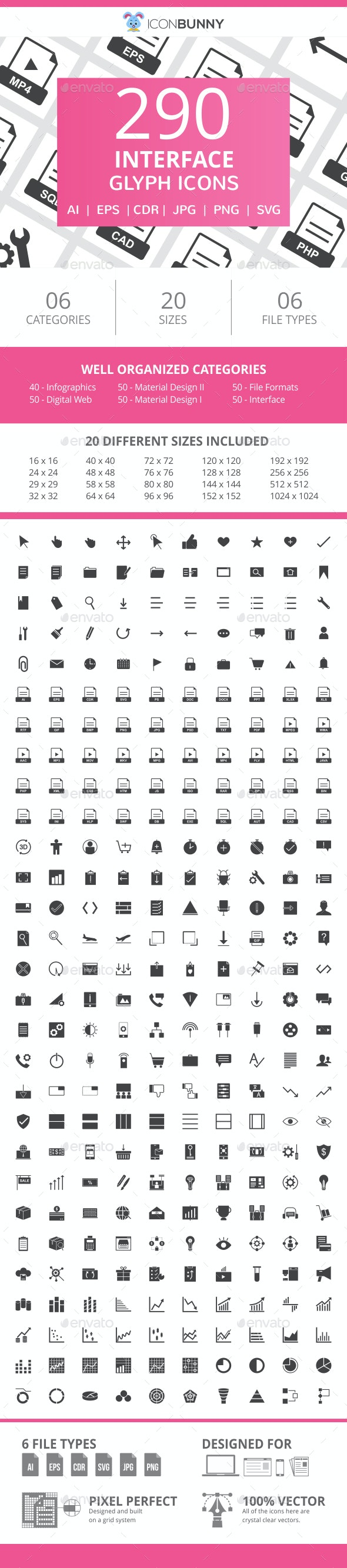 290 Interface Glyph Icons - Icons