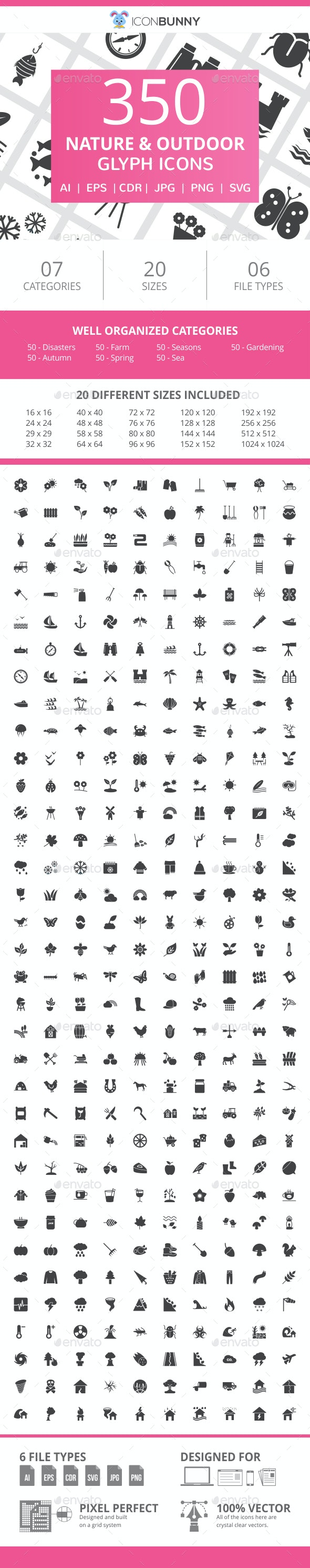350 Nature & Outdoor Glyph Icons - Icons