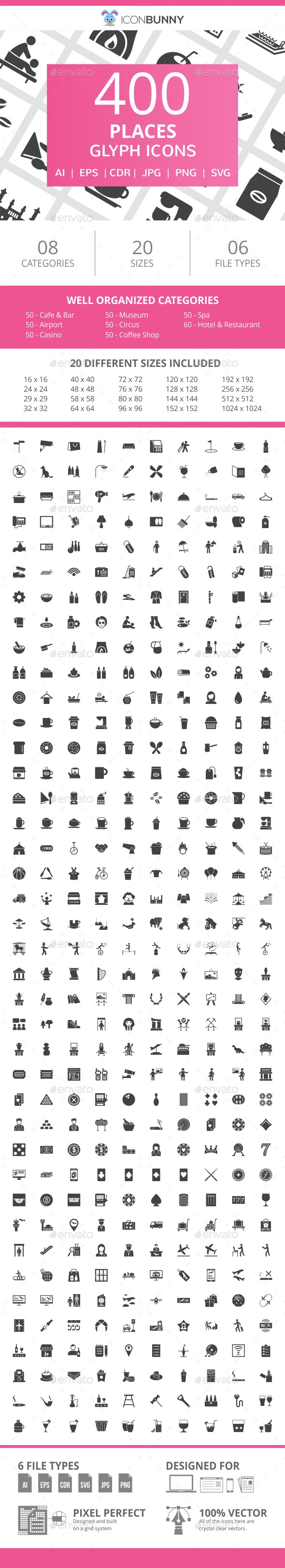 410 Places Glyph Icons - Icons