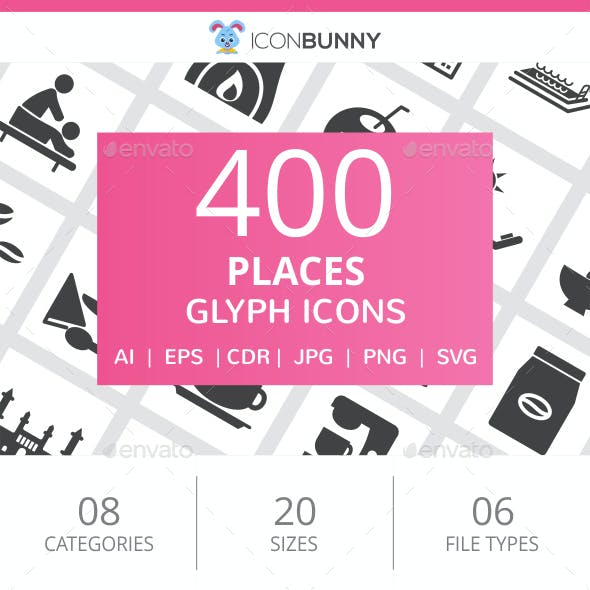410 Places Glyph Icons
