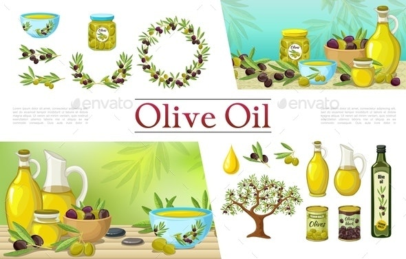 Cartoon Natural Olive Elements Collection - Food Objects