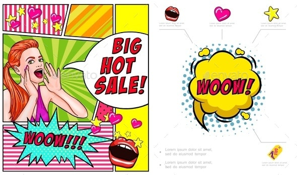 Pop Art Hot Sale Advertising Composition - People Characters