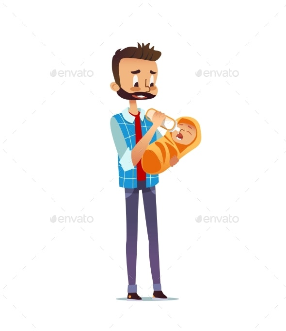 Man Holding and Feeding Newborn Child with Nursing - People Characters