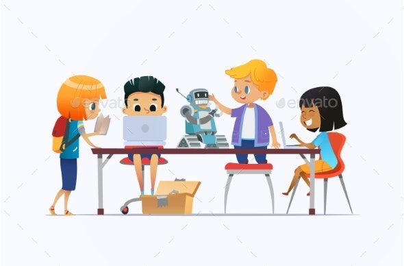 Boys and Girls Standing and Sitting Around Desk - Miscellaneous Vectors
