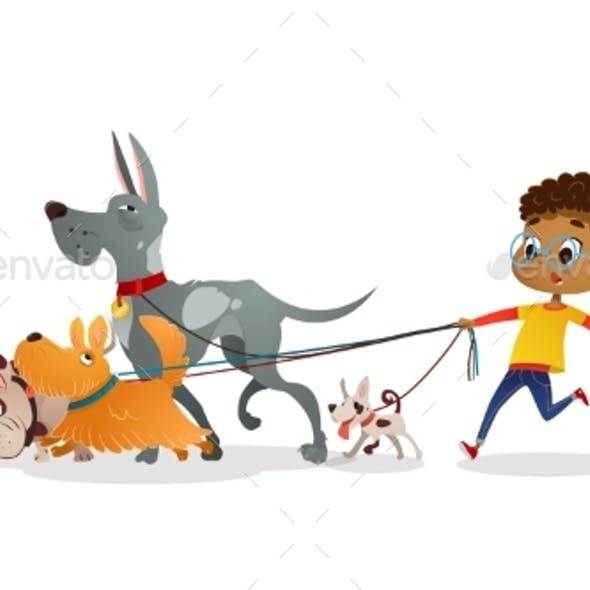 African-American Boy Holds a Dog-lead