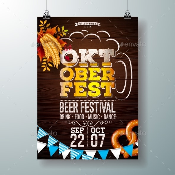 Oktoberfest Party Poster Vector Illustration with - Seasons/Holidays Conceptual