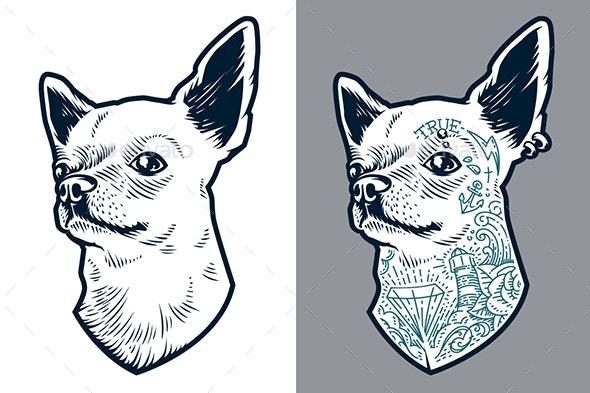 Tattooed Chihuahua | Vector Art - Animals Characters