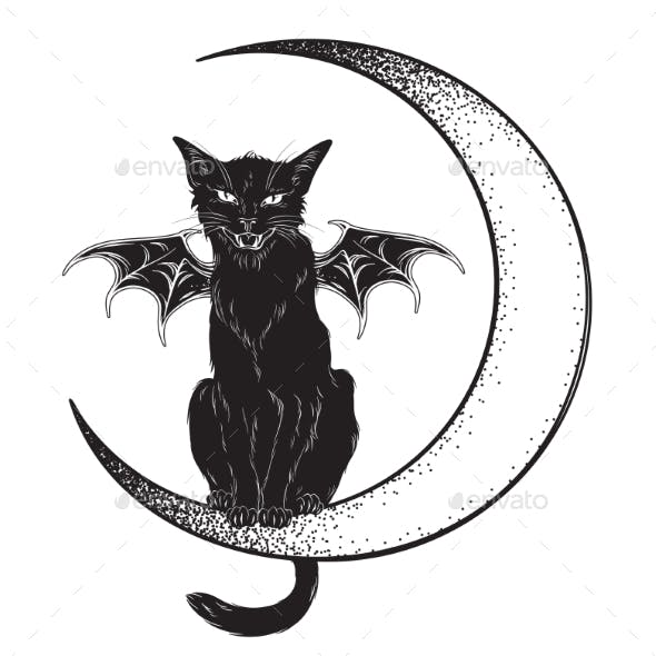 Black Cat with Wings Sitting on the Moon