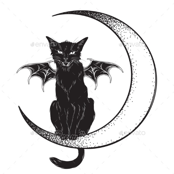 Black Cat with Wings Sitting on the Moon - Animals Characters